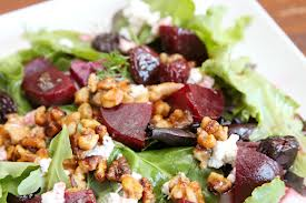 Roasted Beet Salad with Goat Cheese, Walnuts, Apple Slices, and Honey ...