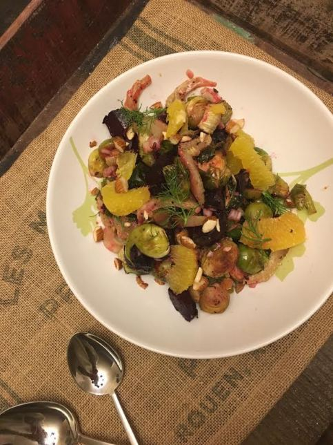 beet and brussel sprout salad